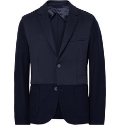 Lanvin Navy Slim-Fit Scuba-Jersey and Cotton-Blend Blazer