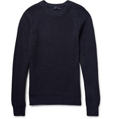 Lanvin - Slim-Fit Ribbed Mélange Cotton and Wool-Blend Sweater