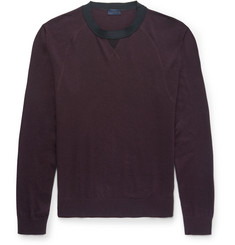 Lanvin Mesh-Detailed Cotton And Merino Wool-Blend Sweater