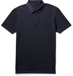Lanvin Slim-Fit Grosgrain-Trimmed Cotton-Piqué Polo Shirt