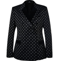 Dolce & Gabbana - Black Slim-Fit Velvet-Trimmed Cotton-Blend Jacquard Tuxedo Jacket