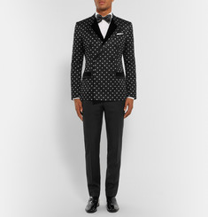 Dolce & Gabbana Black Slim-Fit Velvet-Trimmed Cotton-Blend Jacquard Tuxedo Jacket
