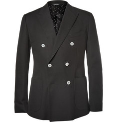 Dolce & Gabbana - Black Double-Breasted Cotton-Piqué Blazer