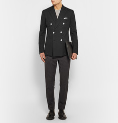Dolce & Gabbana Black Double-Breasted Cotton-Piqué Blazer