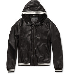 Dolce & Gabbana - Jersey-Trimmed Leather Hooded Jacket