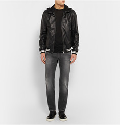 Dolce & Gabbana Jersey-Trimmed Hooded Leather Jacket