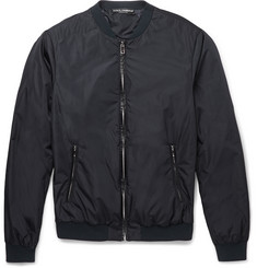 Dolce & Gabbana Leather-Trimmed Shell Bomber Jacket