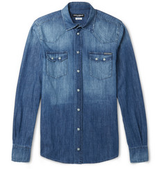 Dolce & Gabbana Slim-Fit Washed-Denim Western Shirt