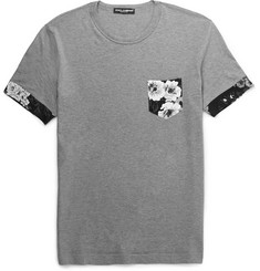 Dolce & Gabbana Slim-Fit Floral Print-Trimmed Cotton-Jersey T-Shirt