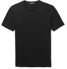 Dolce & Gabbana Slim-Fit Plaque-Detailed Cotton-Jersey T-Shirt