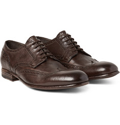 Alexander McQueen - Washed-Leather Wingtip Brogues