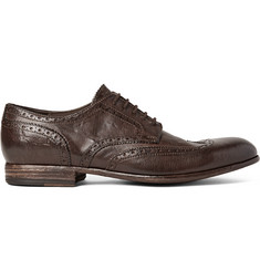 Alexander McQueen Washed-Leather Wingtip Brogues