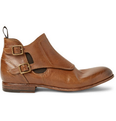 Alexander McQueen Washed-Leather Monk-Strap Boots