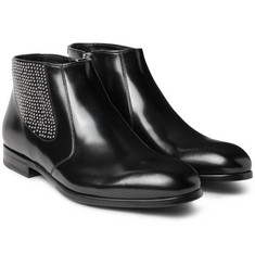 Alexander McQueen Studded Polished-Leather Chelsea Boots