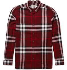 Burberry Brit Button-Down Collar Checked Cotton-Flannel Shirt