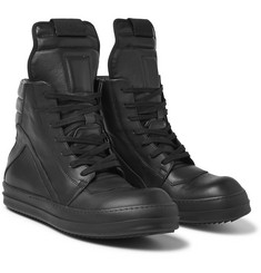 Rick Owens - Panelled Leather High-Top Sneakers