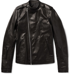 Rick Owens - Slim-Fit Grained-Leather Biker Jacket