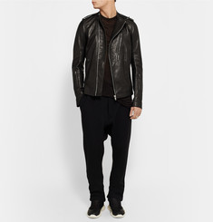 Rick Owens Slim-Fit Grained-Leather Biker Jacket