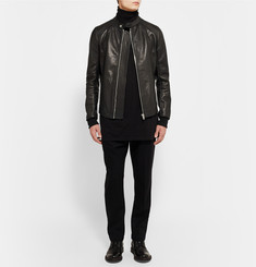 Rick Owens Panelled Grained-Leather Jacket