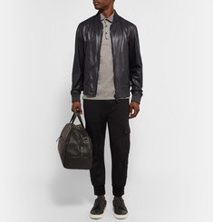 Calvin Klein Collection Kansas Perforated Leather Bomber Jacket