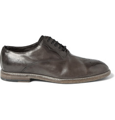 Dolce & Gabbana - Perforated Burnished-Leather Oxford Shoes