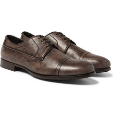 Dolce & Gabbana - Burnished Grained-Leather Derby Shoes