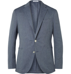 Boglioli Blue Dover Slim-Fit Cotton and Linen-Blend Chevron Blazer