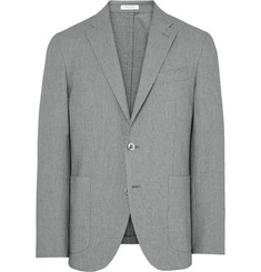 Boglioli Grey Slim-Fit Textured Puppytooth Stretch-Cotton Blazer