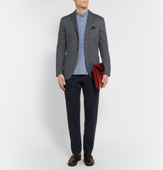 Boglioli Grey Slim-Fit Woven Cotton Blazer