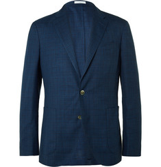 Boglioli Blue Dover Slim-Fit Checked Wool, Linen and Silk Blend Blazer