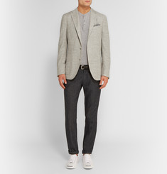 Boglioli Grey Dover Slim-Fit Slubbed Silk-Blend Blazer