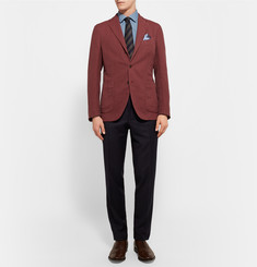 Boglioli Brick Slim-Fit Cotton and Linen-Blend Hopsack Blazer