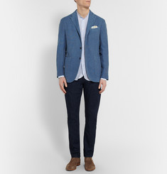 Boglioli Blue Slim-Fit Cotton and Linen-Blend Hopsack Blazer