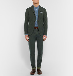 Boglioli Green Slim-Fit Stretch-Cotton Corduroy Suit Trousers