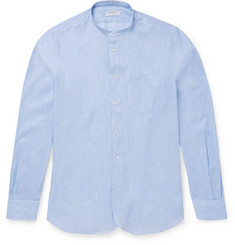 Boglioli Slim-Fit Grandad-Collar Striped Linen and Cotton-Blend Shirt