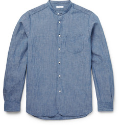 Boglioli Grandad-Collar Cotton and Linen-Blend Chambray Shirt