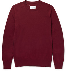 Maison Margiela Leather Elbow Patch Cotton and Wool-Blend Sweater