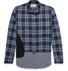 Maison Margiela Contrast-Panel Checked Linen Shirt