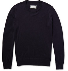Maison Margiela Elbow Patch Cotton and Wool-Blend Sweater