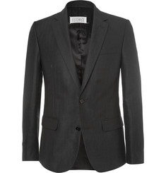 Maison Margiela Black Slim-Fit Herringbone Wool and Linen-Blend Blazer