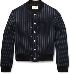 Maison Margiela Pinstriped Stretch Wool-Blend Twill Bomber Jacket