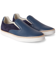 Maison Margiela Leather and Suede Slip-On Sneakers