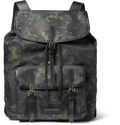 Burberry Shoes & Accessories Leather-Trimmed Camouflage-Print Canvas Backpack