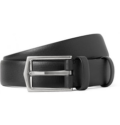 Burberry Shoes & Accessories 2.5cm Black Cross-Grain Leather Belt