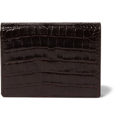 Smythson - Mara Croc-Effect Leather Bridge Set Case