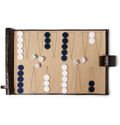 Smythson - Croc-Effect Leather Backgammon Travel Set