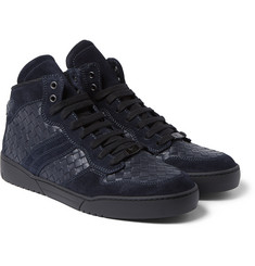 Bottega Veneta - Suede-Trimmed Intrecciato Leather High-Top Sneakers