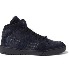 Bottega Veneta Suede-Trimmed Intrecciato Leather High-Top Sneakers