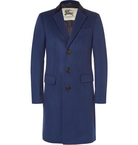 Burberry LondonVelvet-Trimmed Virgin Wool and Cashmere-Blend Overcoat