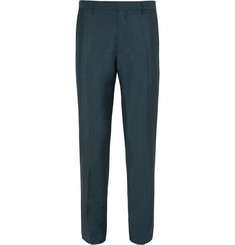 Burberry London - Petrol Slim-Fit Wool and Mohair-Blend Trousers